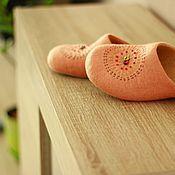 """Обувь ручной работы. Ярмарка Мастеров - ручная работа """"ЭТНО"""" (peach) тапочки валяные. Handmade."""