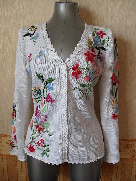 """Пиджаки, жакеты ручной работы. Ярмарка Мастеров - ручная работа. Купить Жакет """"Летние краски"""".. Handmade. Вязание спицами, цветочный"""