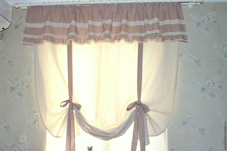 льняные шторы для кухни фото