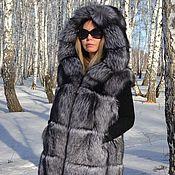 handmade. Livemaster - original item Vest fur black brown (silver) Fox hooded. Handmade.