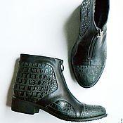 """Обувь ручной работы. Ярмарка Мастеров - ручная работа Ботинки зимние """"Серый крокодил"""". Handmade."""