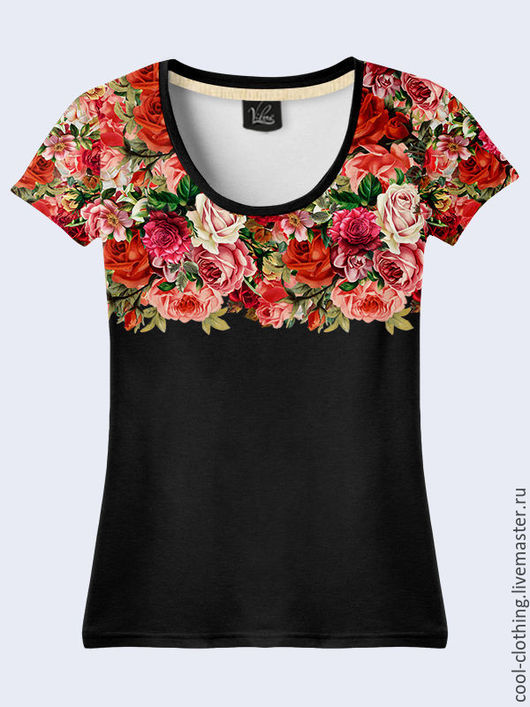 """Футболки, майки ручной работы. Ярмарка Мастеров - ручная работа. Купить Женская футболка """"Цветы"""" черная. Handmade. Рисунок"""