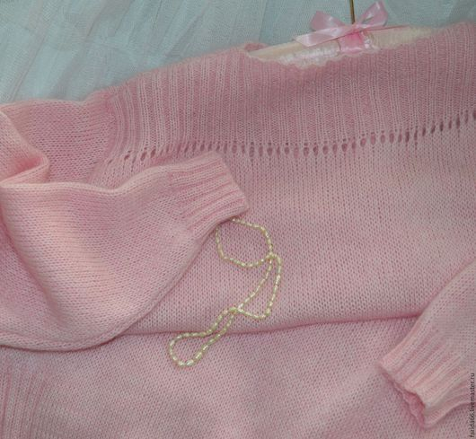 """Кофты и свитера ручной работы. Ярмарка Мастеров - ручная работа. Купить Пуловер удлиненный """"Нежно-нежно розовый..."""" (итал. кид-мохер на шелке). Handmade."""