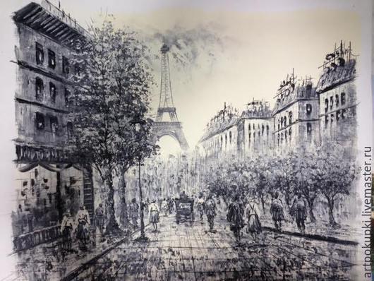 Город ручной работы. Ярмарка Мастеров - ручная работа. Купить картина Париж. Handmade. Чёрно-белый, картина для интерьера, картина