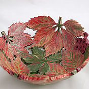 Посуда handmade. Livemaster - original item Wild grapes in the autumn bowl. Handmade.