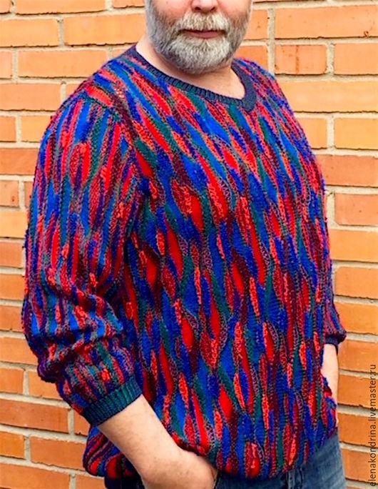 """Кофты и свитера ручной работы. Ярмарка Мастеров - ручная работа. Купить Джемпер мужской """"Калейдоскоп"""". Handmade. Комбинированный, авторский трикотаж"""