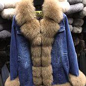 Куртки ручной работы. Ярмарка Мастеров - ручная работа Куртки: Джинсовая куртка на синтепоне с песцом. Handmade.