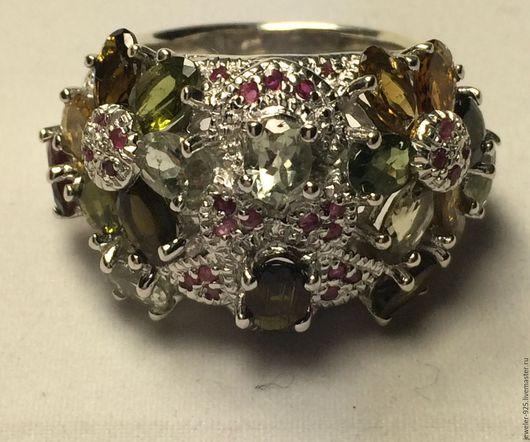 """Кольца ручной работы. Ярмарка Мастеров - ручная работа. Купить Крупное кольцо""""Рапсодия"""" Турмалины, Рубины, серебро 925. Handmade."""
