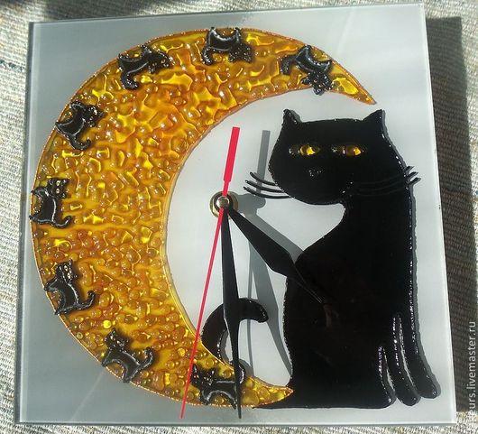 Часы для дома ручной работы. Ярмарка Мастеров - ручная работа. Купить Часы «Лунная кошка». Handmade. Оранжевый, часы настенные