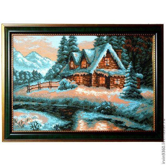 """Пейзаж ручной работы. Ярмарка Мастеров - ручная работа. Купить картина """"Зимний пейзаж"""". Handmade. Вышивка, пейзаж, для дома и интерьера"""