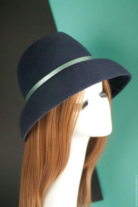 """Шляпы ручной работы. Ярмарка Мастеров - ручная работа. Купить """"Джинсовое бохо"""". Handmade. Тёмно-синий, шляпа с полями, контрастный"""