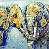 """Картины и панно ручной работы. Ярмарка Мастеров - ручная работа """"Я Тебя Люблю"""" - картина маслом со слонами. Handmade."""