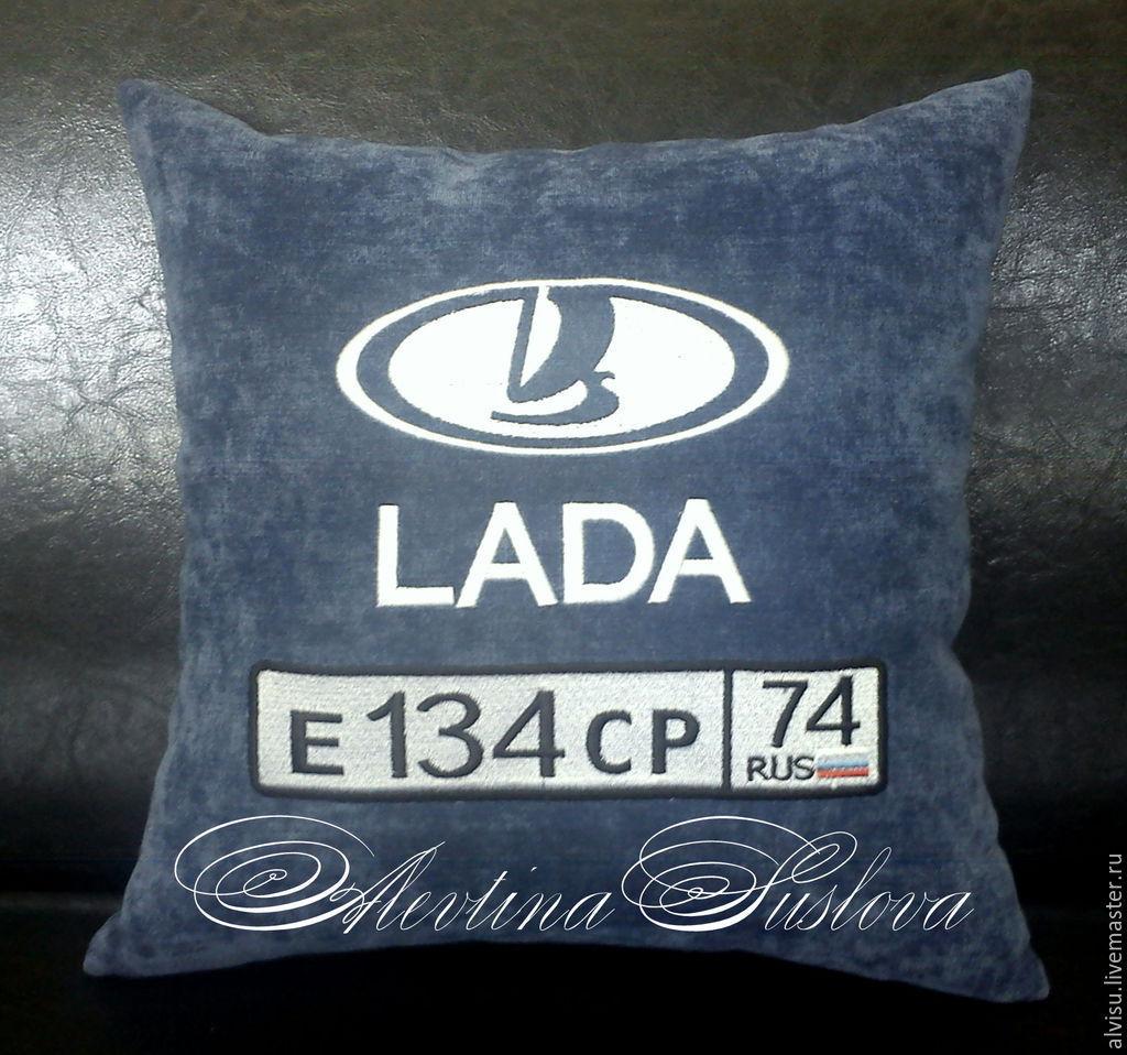 Автомобильные подушки с именной вышивкой 96