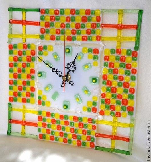 Часы для дома ручной работы. Ярмарка Мастеров - ручная работа. Купить Мозаика цветная Фьюзинг. Handmade. Фьюзинг, часы фьюзинг