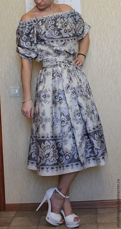 Платья ручной работы. Ярмарка Мастеров - ручная работа. Купить Восточные мотивы. Handmade. Серый, платье, хлопок