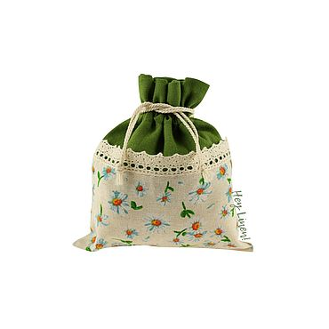 Souvenirs and gifts handmade. Livemaster - original item 13h15cm. Linen bag with cotton lace, green, chamomile. Handmade.