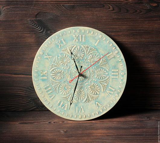 """Часы для дома ручной работы. Ярмарка Мастеров - ручная работа. Купить Часы """"Цвета Неба"""". Handmade. Бирюзовый"""