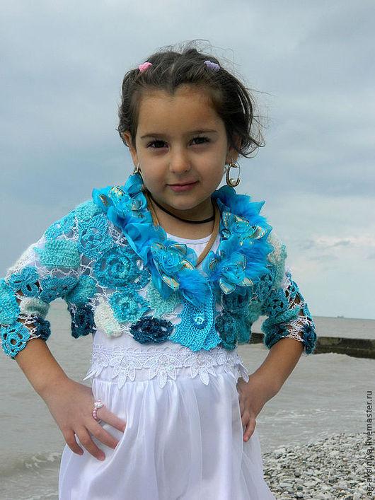 Одежда для девочек, ручной работы. Ярмарка Мастеров - ручная работа. Купить Болеро вязаное крючком для девочки Розы цвета Бирюзы. Handmade.