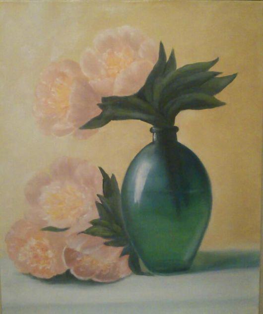 Картины цветов ручной работы. Ярмарка Мастеров - ручная работа. Купить Пионы в зеленой вазе. Handmade. Розовый, зеленый, ваза
