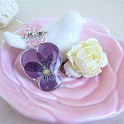 Украшения handmade. Livemaster - original item Earrings Real Purple Anytime Epoxy Botanica Eco. Handmade.
