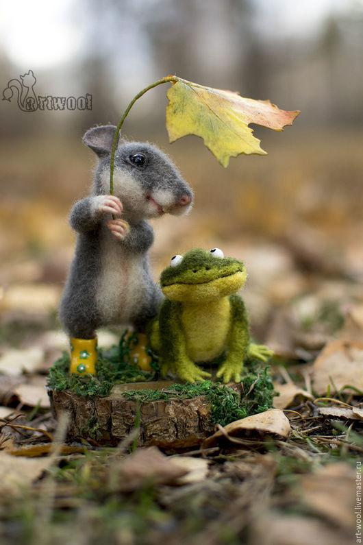 Игрушки животные, ручной работы. Ярмарка Мастеров - ручная работа. Купить Прогулка в лесу.. Handmade. Комбинированный, мышонок игрушка, осень