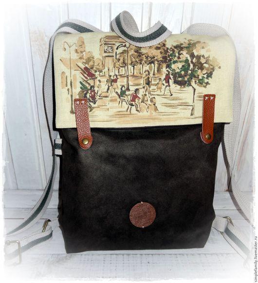 """Рюкзаки ручной работы. Ярмарка Мастеров - ручная работа. Купить текстильный  рюкзак """"Осенняя мелодия"""". Handmade. Эко сумка, замша"""
