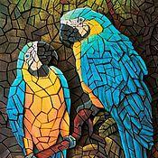 Картины и панно ручной работы. Ярмарка Мастеров - ручная работа Объёмная бумажная мозаика «Попугаи». Handmade.