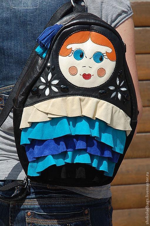 Женские сумки ручной работы. Ярмарка Мастеров - ручная работа. Купить Кожаный рюкзак - сумка ' Матрешка'. Handmade. Кожа