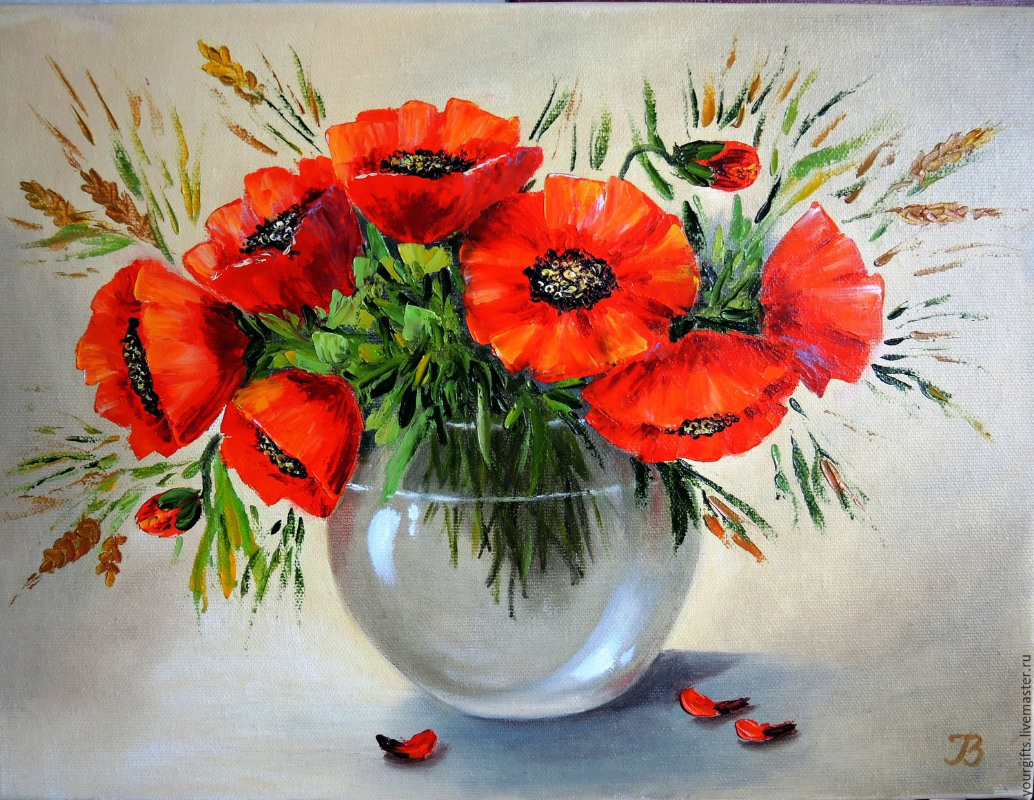 Red poppies oil painting flowers in a vase shop online on flower painting handmade livemaster handmade buy red poppies oil painting flowers reviewsmspy