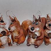 Подарки к праздникам ручной работы. Ярмарка Мастеров - ручная работа Белочка. Елочные игрушки из папье-маше. Handmade.