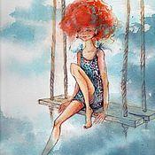 Картины ручной работы. Ярмарка Мастеров - ручная работа Картина акварелью «Девочка -Лето». Handmade.
