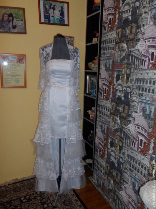 Одежда и аксессуары ручной работы. Ярмарка Мастеров - ручная работа. Купить Свадебное платье+накидка.. Handmade. Белый, атлас