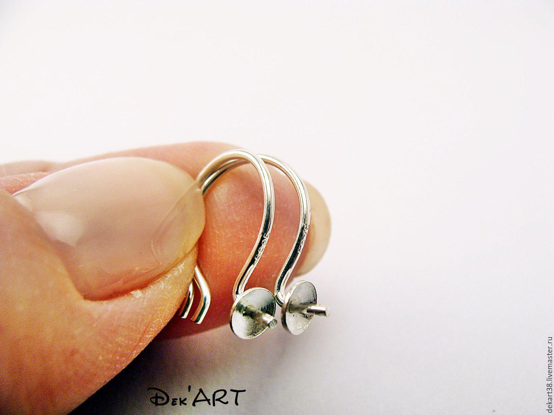 Base for earrings, silvering 925 art. OS92548, Blanks for jewelry, Irkutsk,  Фото №1