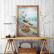 Картины и панно handmade. Livemaster - original item Berth, oil painting on canvas, Seagull. Handmade.