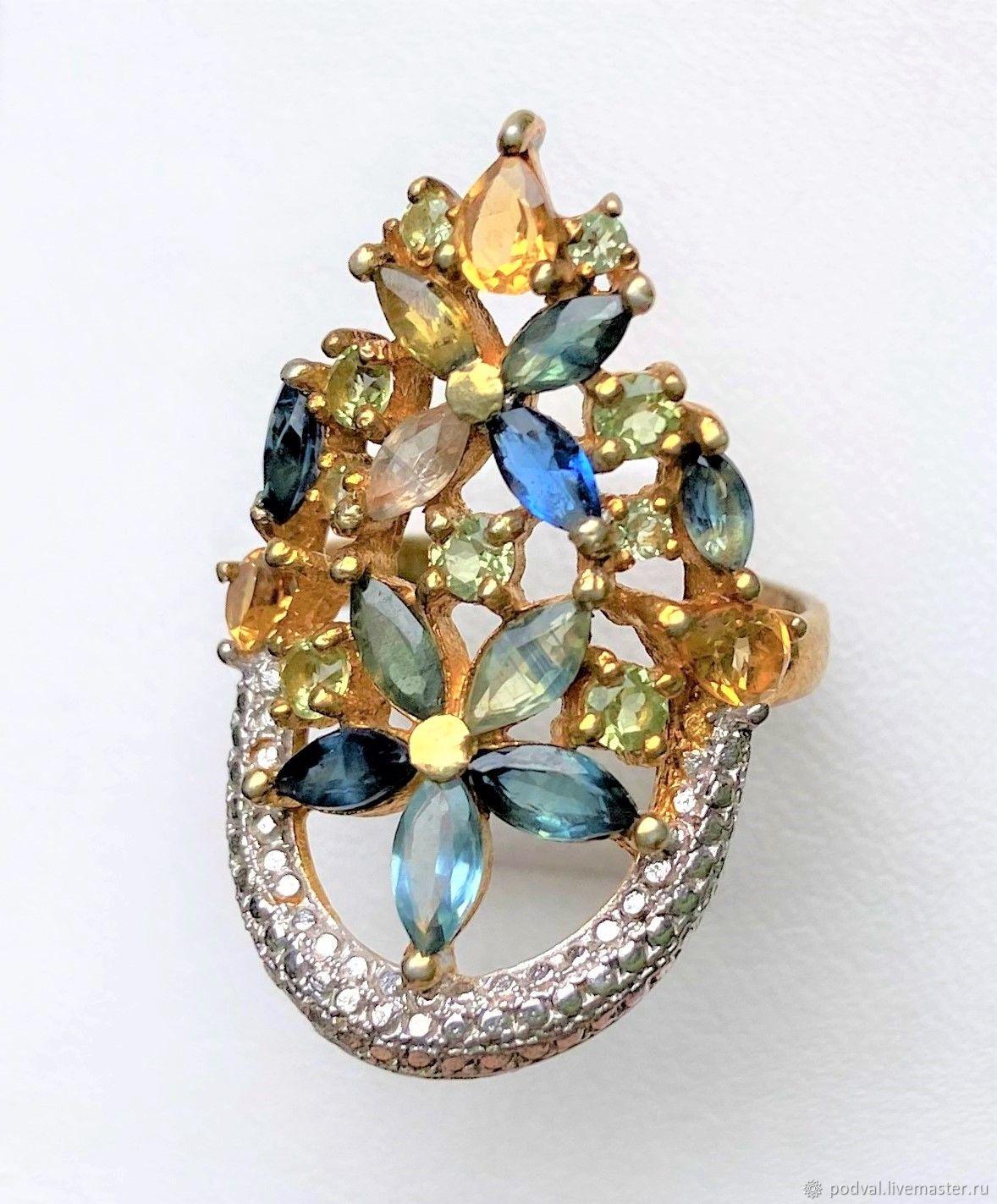 Супер цена!Кольцо с натуральными сапфирами, топазами(17), Кольца, Королев,  Фото №1