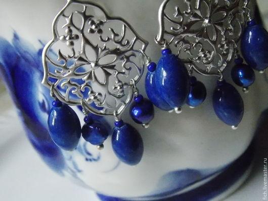 Серьги ручной работы. Ярмарка Мастеров - ручная работа. Купить Синие Серьги с нефритом. Handmade. Тёмно-синий, подарок девушке