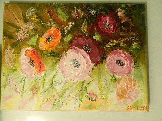 """Картины цветов ручной работы. Ярмарка Мастеров - ручная работа. Купить Картина """"Маки"""" холст на подрамнике, масло... Handmade. Разноцветный"""