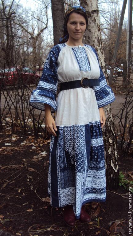 """Платья ручной работы. Ярмарка Мастеров - ручная работа. Купить Платье """"Жар-птица"""" сине-белое. Handmade. Рисунок"""
