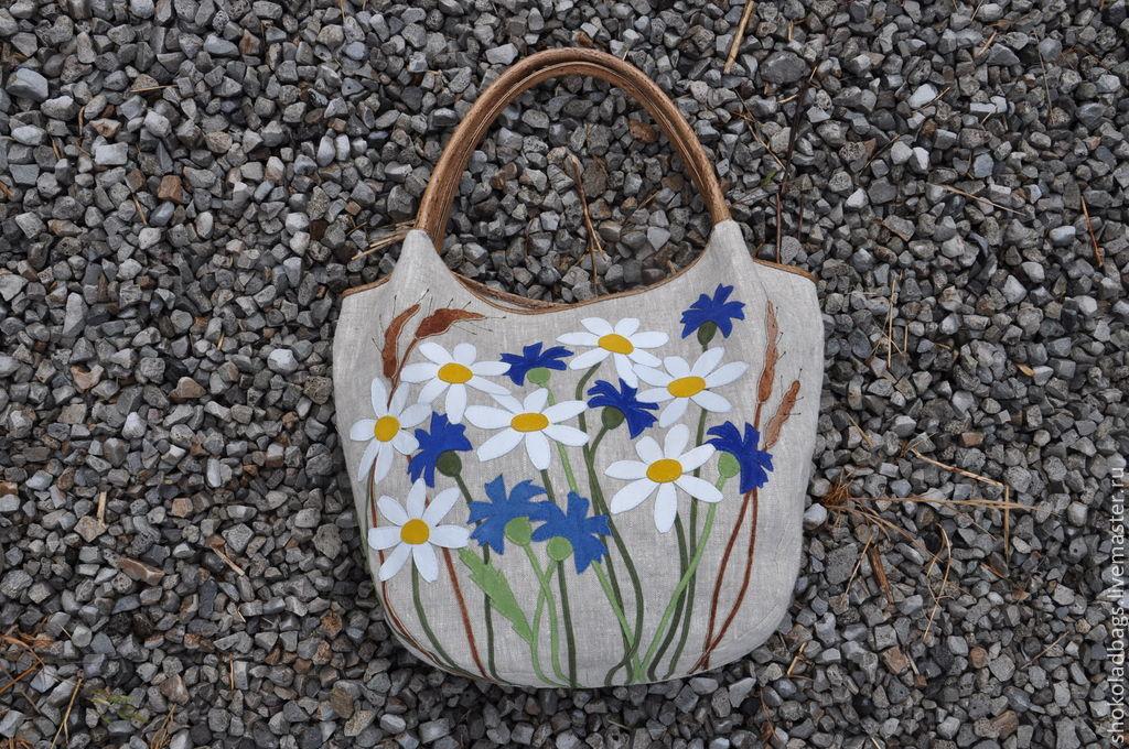 b49e862c0b4 Купить Льняная сумка с кожей Женские сумки ручной работы. Льняная сумка с  кожей