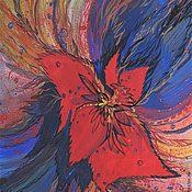 Картины и панно ручной работы. Ярмарка Мастеров - ручная работа Картина .Красный цветок. Handmade.