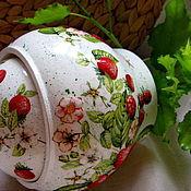 """Для дома и интерьера handmade. Livemaster - original item Горшочек с объемным рисунком """"Вкус лета"""". Handmade."""