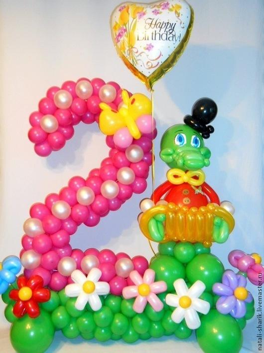 Праздничная атрибутика ручной работы. Ярмарка Мастеров - ручная работа. Купить Цифра два из воздушных шаров. Handmade. Фуксия