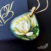 Украшения handmade. Livemaster - original item MAGNOLIA pendant jewelry painting on Labradorite. Handmade.