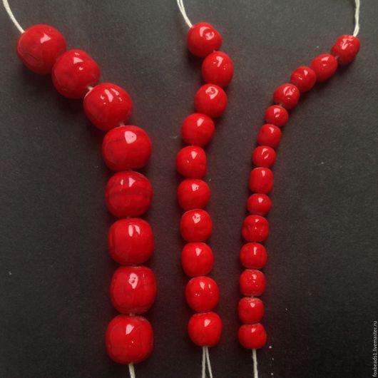 Для украшений ручной работы. Ярмарка Мастеров - ручная работа. Купить 6-8-10мм. Антикварные бусины 1950-х, Япония. Стекло красное. Handmade.