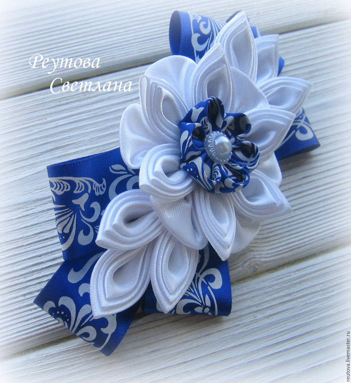Заколка-автомат Синий сад в технике канзаши, Заколки, Черноголовка,  Фото №1