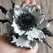 """Украшения ручной работы. Ярмарка Мастеров - ручная работа Брошь """"Белое&Черное"""". Броши из кожи, мак из кожи, цветок из кожи. Handmade."""