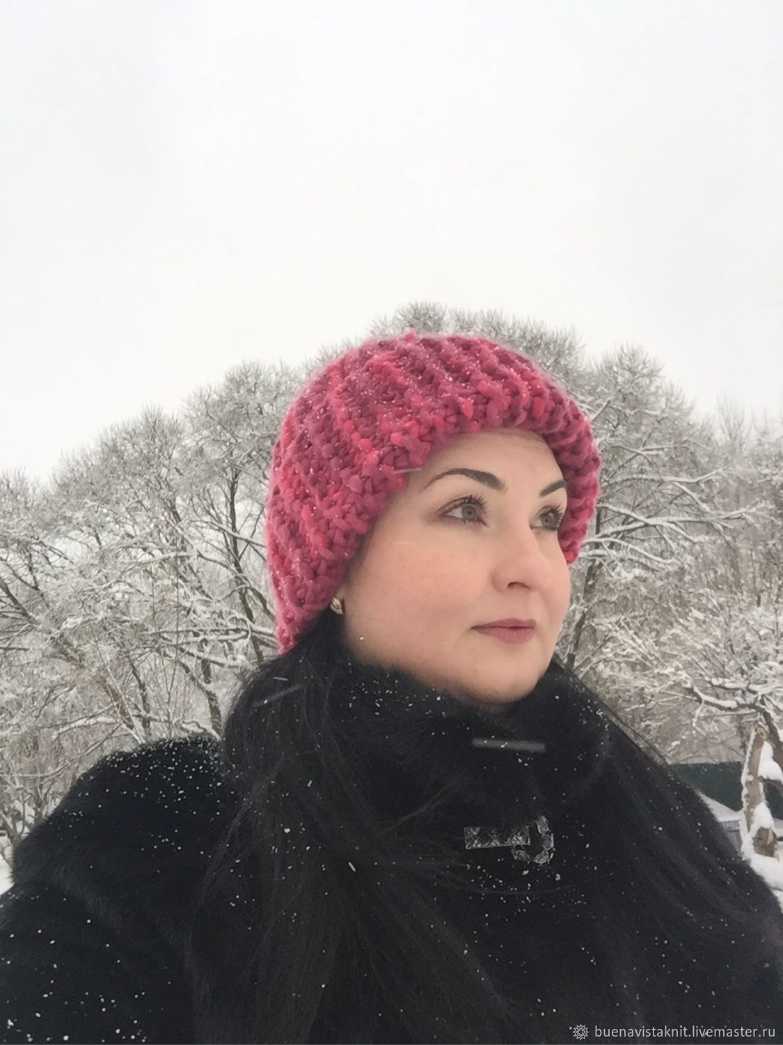 Knitted red hat. knitting to order. Dobryninskaya Manufactory