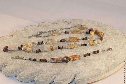 Комплекты украшений ручной работы. Ярмарка Мастеров - ручная работа. Купить Комплект из яшмы и крошки турмалина. Handmade. Яшма натуральная