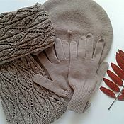 Аксессуары handmade. Livemaster - original item Knitted set: scarf gloves beret Merino wool Cocoa. Handmade.