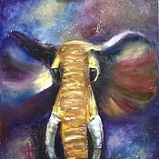 Картины и панно handmade. Livemaster - original item Space elephant large oil painting on canvas in SPb. Handmade.